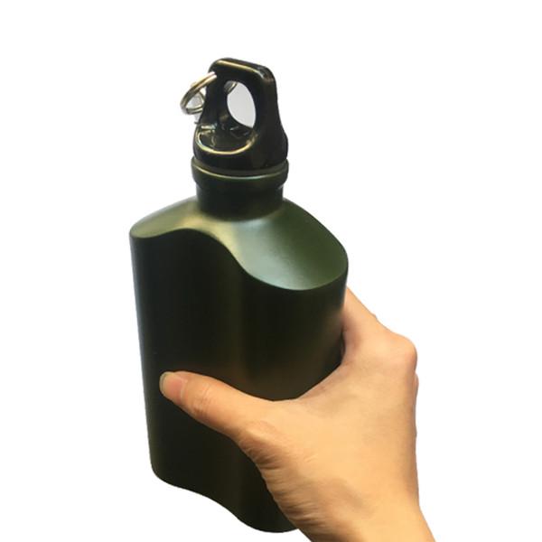 500 ml Açık Spor Su Şişesi Hafif Alüminyum Şişesi Sızdırmaz Askeri Kantin Oval Su Isıtıcısı Döngü Kapak Dar Ağız