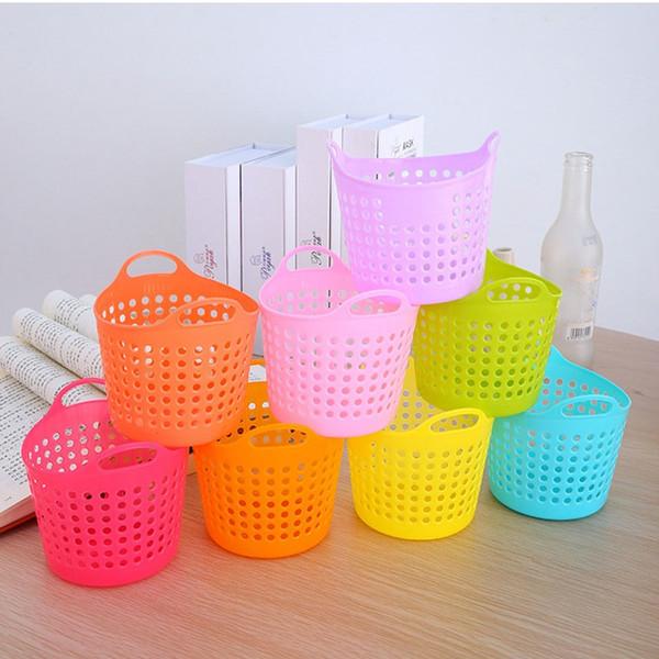 Mesh Portable Mini Sundries Storage Basket Plastic Desk Pen Container Cosmetics Storage Box Eco Friendly 4 Colors ZA5885