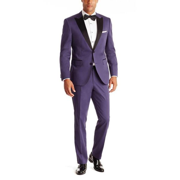 New Arrival Purple Grooms Tuxedos Black Satin Peaked Lapel Wedding Suits For Men Two Piece Mens Suit Two Button Groomsmen Suit
