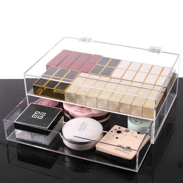 New Fashion 2 Drawers Clear/Transparent makeup organizer box Acrylic Cosmetic Storage Case with cover dust free jewelry storage
