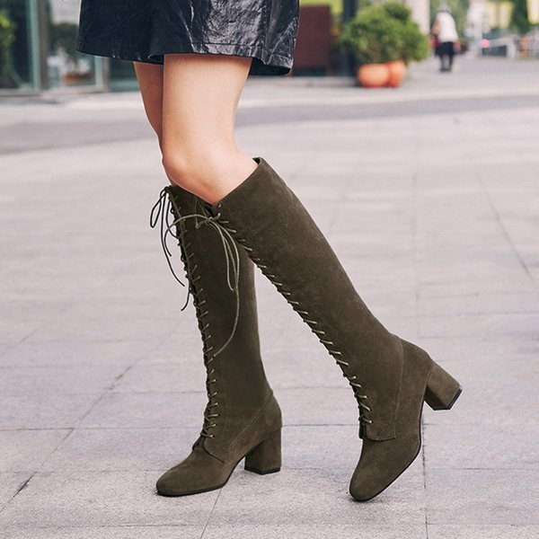shoes Women's Winter Knee High Heels Martin Boots Female Snow Boot Ladies Plush Casual Shoes Woman Footwear botines mujer 2018