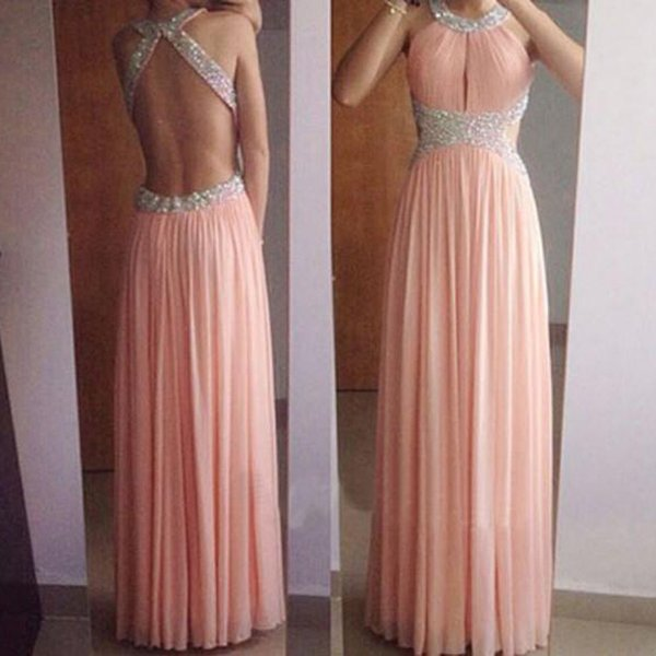 ZYLLGF Sexy Prom Dress Long A Line Crystals Beads Halter Neck Backless Cut Out Sexy Cutaway Waist Evening Party Gowns High Quality