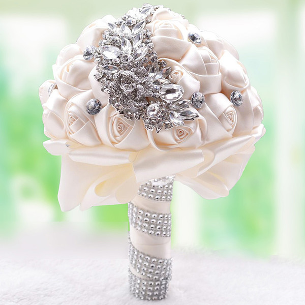 Hot 7 Colors Crystal Brooch Wedding Bouquet Wedding Accessories Bridesmaid Artificial Satin Flowers Wedding Flowers Bridal Bouquet CPA1546