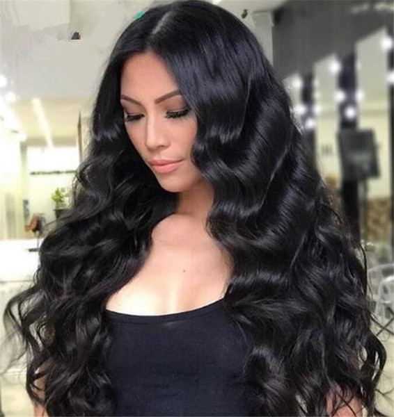 Lace Front Human Hair Wigs For Women Natural Black Color Brazilian Remy Hair Pre Plucked Wavy Lace Wigs With Baby Hair