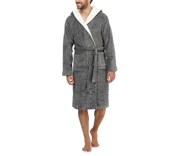 Mode Gris robes de sommeil pour hommes, plus la taille polaire polaire pour les hommes à manches longues épais hiver nuit-robe