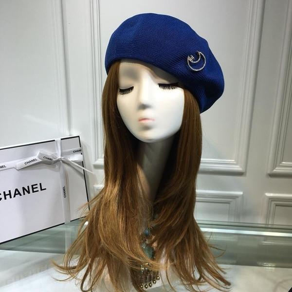 High End Women Men Cap Ladies Hats Counter Black blue Hat Wool Cashmere beret Hat With Box 2 Colors