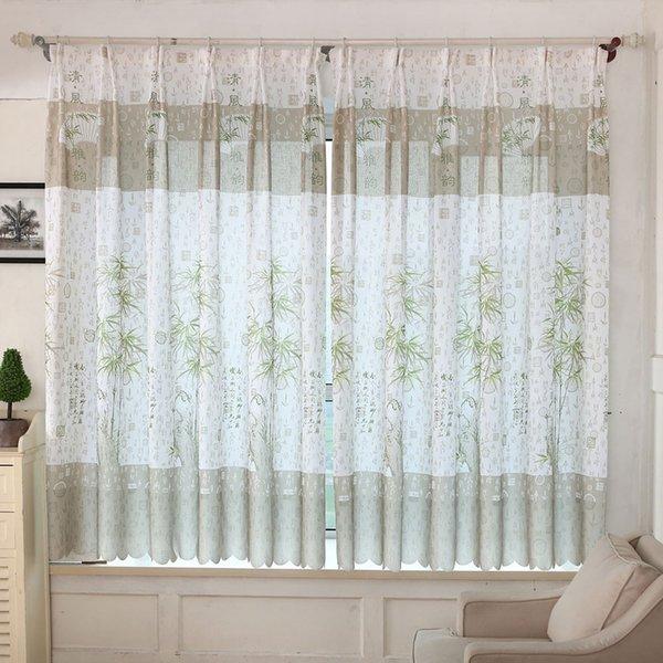 2016 Nuovo per 11.11 Bamboo Print Sheer Window Curtains Per Soggiorno Camera da letto davvero buono