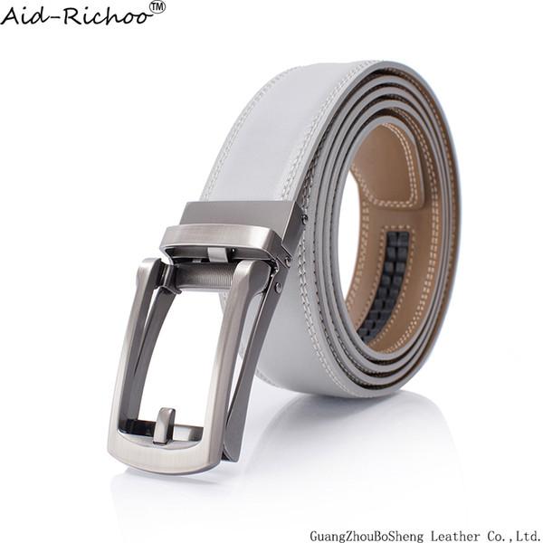 el más nuevo 54424 de4e6 Compre Cinturón Gris Para Mujeres Hebilla Automática Cinturón De Trinquete  Para Hombre Correa De Cuero Genuino Deporte Casual Golf Cintura De Calidad  ...