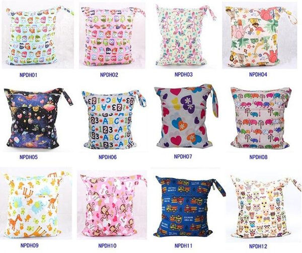 best selling Wet Dry Bag Laundry Waterproof diaper bag Double Zippered Cloth Diaper Bags Wet Swimsuit Bag Animal Printed by Melee Zigzag WetBag 36*28cm
