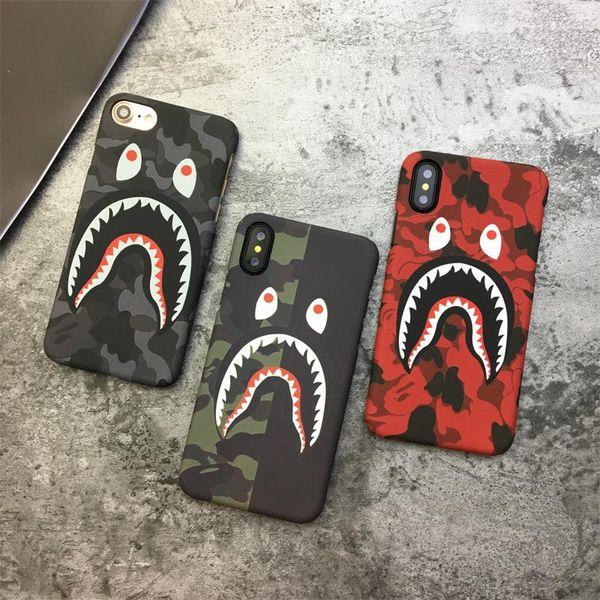 Hot tubarão camuflagem case para iphone x 6 6 s 7 8 além de pc rígido matte voltar case protetor do telefone do exército luminoso brilho capa