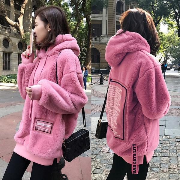 Plus Größe 5XL Frauen Große Größe Sweatshirt Samt Gepolsterte Dicke Verdicken Jacken Herbst Rosa Beiläufige Lose Mantel