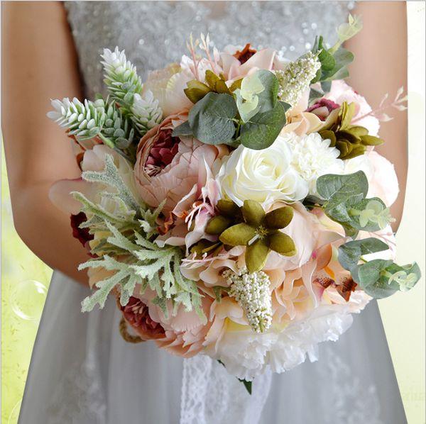 2019 Evlilik Kırmızı Pembe Beyaz Düğün Çiçekleri Mor Düğün Gelin Buketleri Gelinler Gelin Buketi için Yapay Düğün Buketleri