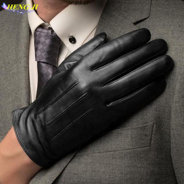 Gants en cuir pour hommes, peau de mouton, écran tactile, haute qualité, à la mode, chaud, peluche, conduite en cuir, livraison gratuite