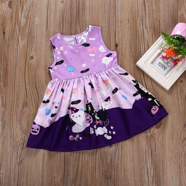 New Children Halloween Dress Baby Girls Purple Sleeveless Vest Dress Halloween Pumpkin Printed Princess Party Dress Kids Clothing