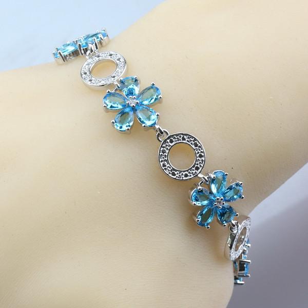 Manny Trinket 11-Color Silver Flower Women Jewelry Sea Blue Crystal Adjustable Link Chain Bracelet Length 21CM Free Gift Box