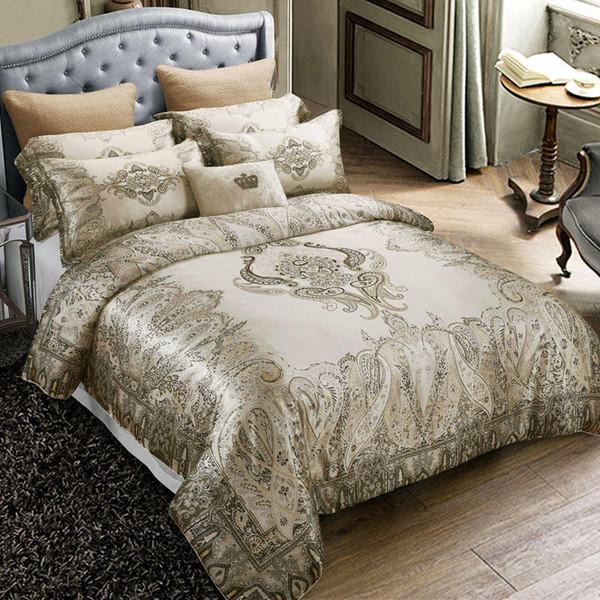 4Pieces King size Luxury Mulberry silk Bedding set Soft Silky Bedclothes Bohemia Duvet cover Bed sheet/Linen set Pillowcase