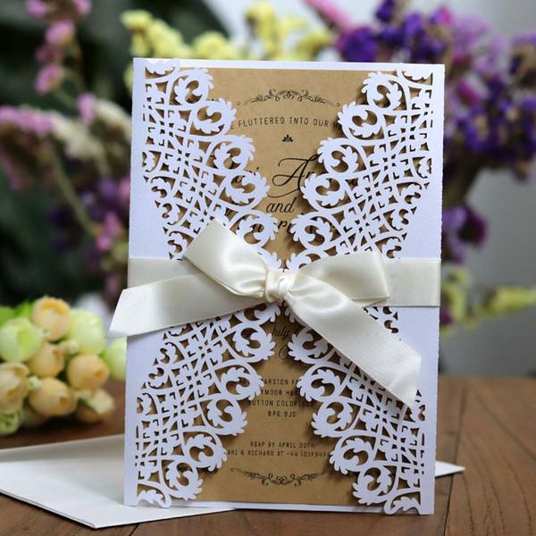 Compre 100 Unids Vintage Blanco Invitaciones De Boda Tarjetas Con Flora Corte Láser Compromiso Para Invitación De Fiesta De Cumpleaños Personalizable
