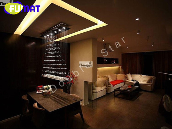 FUMAT Square Rain Drop Curtain 100CM Modern LED Cystal Ball Hanging Wire Pendant Light Fixture Chandelier Ceiling Lamp Lighting