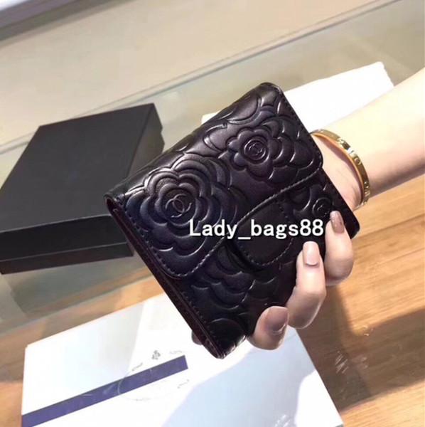 Las mujeres de lujo carteras de diseño negro billetera corta titular de la tarjeta de crédito Monedero de Calidad Superior de Cuero Monedero Tres Fold Wallet Bag