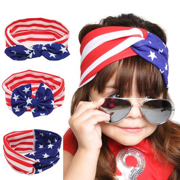 American National Day Newborn Head Band Baby Girls Elastic Fabric Hair Hoop Flag Pattern Bowknot Hair Pin Hairband Accessories
