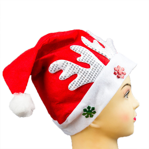 WHISM Christmas Hat Adult Children Christmas Cap Red Non-woven Cloth Hat For Santa Claus Costume Decoration Gift