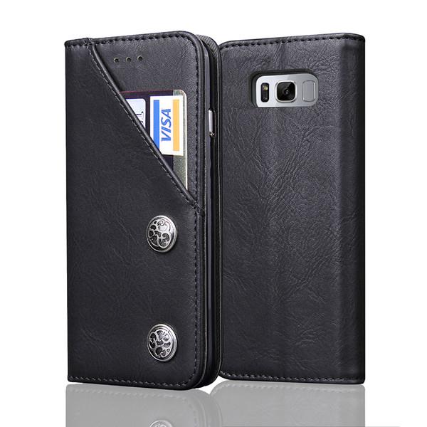 2 in 1 Vintage Leather Flip Wallet Cases for Samsung S8 Plus Slim Fit Shockproof Cell Phone Back Shell Card Holder Pocket Kickstand
