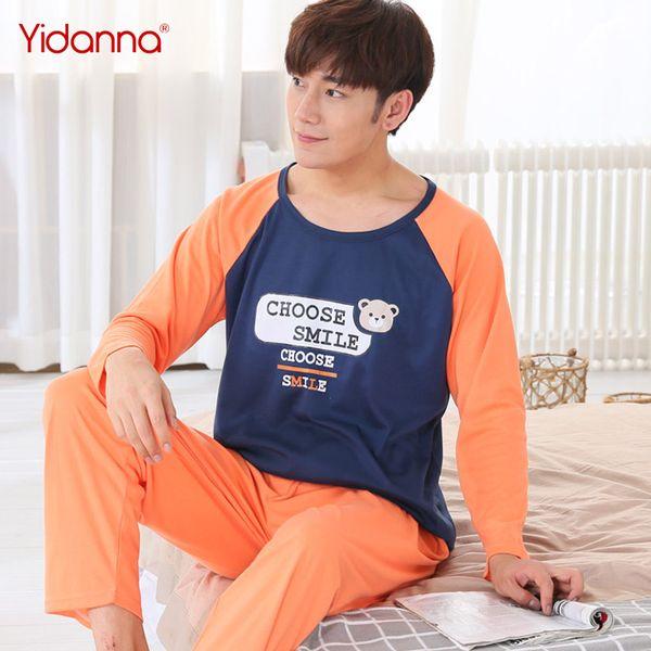3cbd188583 yidanna cartoon pyjamas sets for men boy long sleeved cotton pajamas  sleepwear nightshirt animal plus size