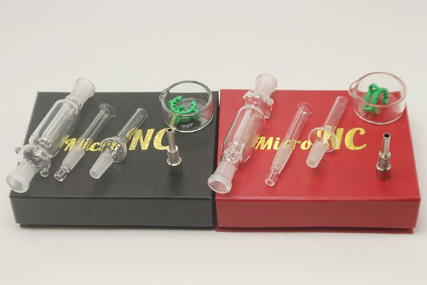 best selling DHL Free Black and Red Dab Straw mini glass water bong 10mm with Glass titanium nail smoking water pipe