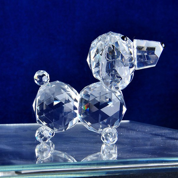 2 Pcs Clear Crystal Dog Figurines Paperweight Crafts Collection Souvenir Gifts Home Decor