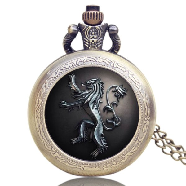 Viantge Pocket Watch Relogio De Bolso With Necklace Quartz Bronze Cool Gifts for Men Women Pocket Watch Chains and Fobs Watches