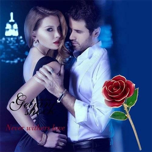 Liebe für immer lange Stamm 24K Goldfolie Trim Rose Blume mit Halterung für Valentinstag Muttertag Jubiläum Geburtstag Chrismas Geschenk