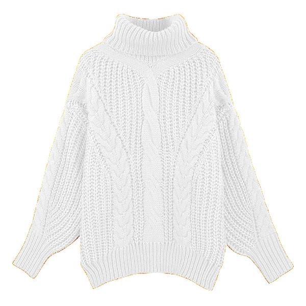 Compre Jersey Grueso Jersey De Cuello Alto Suéter De Jersey Femenino ...