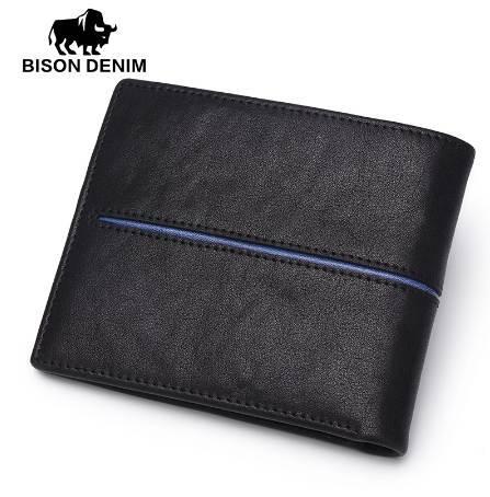 BISON DENIM Genuine Leather Wallet Men Brand Fashion Short Design Purses Male Gift ID Credit Card Holder Slim Bifold Wallet Men
