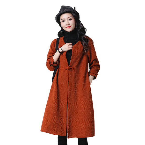 #3050 2018 Autumn Winter Pattern Vintage Chinese Style Single Button Fashion Overcoat Plus Size Cardigan Trench Coat For Women