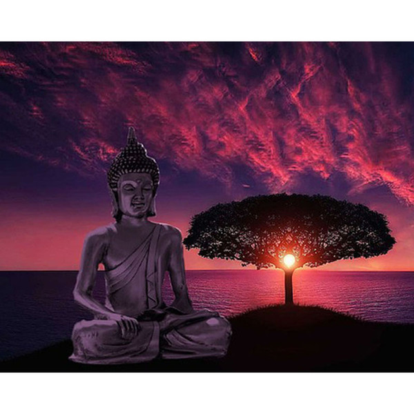 Buddha Red Sky 5D DIY Mosaic Needlework Diamond Painting Embroidery Cross Stitch Craft Kit Wall Home Hanging Decor
