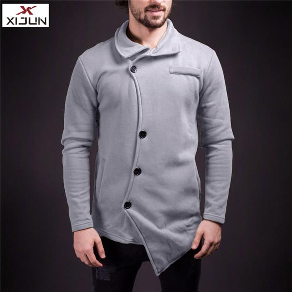 Xijun Anumn Winter Clothes men 2018 New Wool Blends For Men Cotton Casaul Long sleeve High Street Solid slanting threshold Coats