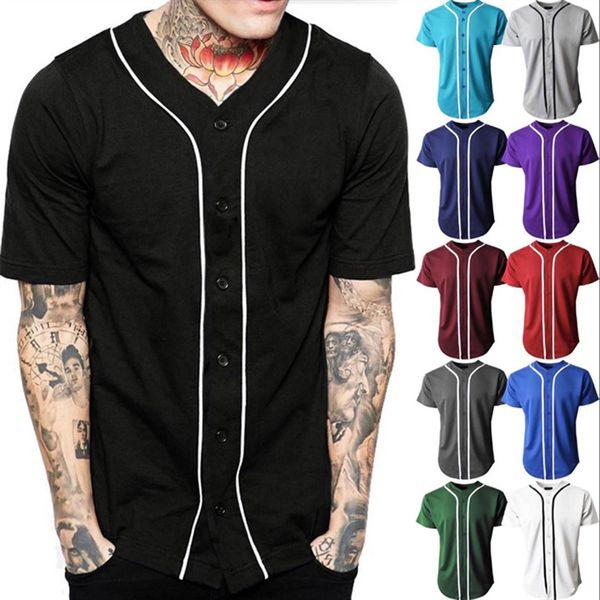 Béisbol negro Jersey Hombre Manga corta Cuello en V Botones para hombre Camiseta Homme Béisbol Camisa Hombres / Mujeres Suave transpirable Hip Hop Tops