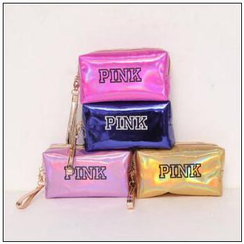 11 Colors PINK Laser Cosmetic Bag Large Capacity Waterproof Makeup Bags Women Laser Leather Cosmetics Organizer CCA9715 30pcs
