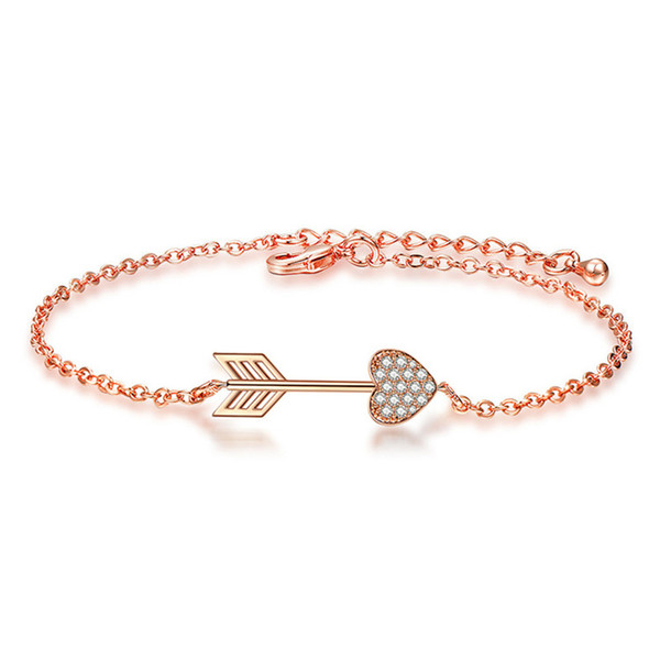 Charming Women Bracelet 18K Rose White Gold Plated AAA CZ Cupid Love Arrow Bracelets for Girls Women Nice Gift for Girl Friend BRC-189