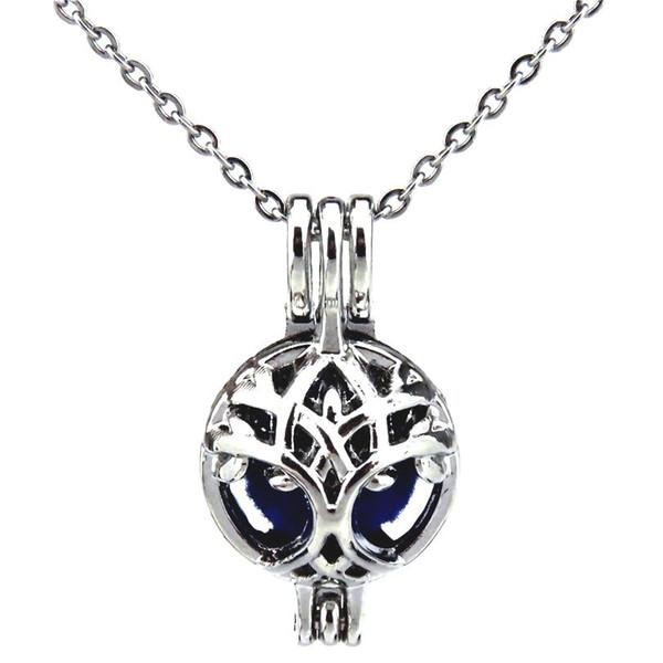 Gümüş 24mm Noel Noel Ağacı Hollow Yağ Difüzör Madalyon Kadınlar Aromaterapi Boncuk İnci Istiridye Kafes Kolye Kolye-Butik hediye