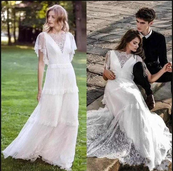 2018 New Beautiful Lace Appliques A-Line Beach Country Wedding Dresses Short Sleeves Lace Top Boho Bohemian Bridal Gown Custom Made