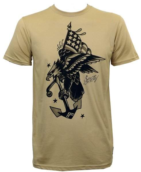 Detalhes zu SAILOR JERRY Tatuagem Flying Eagle Slim Fit T-Shirt S M L XL 2XL NOVO