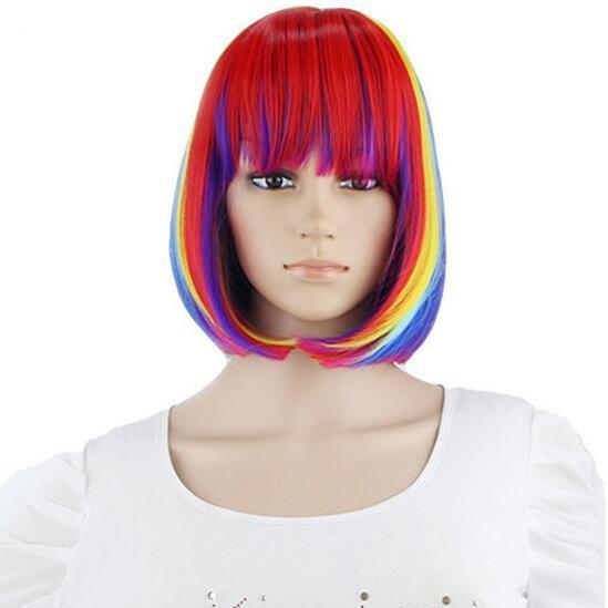 HotNew Court Arc-En-Ligne Droite Femmes Bob Perruques Résistant À La Chaleur Cosplay Costume De Soirée Cheveux Synthétiques Coloré 12