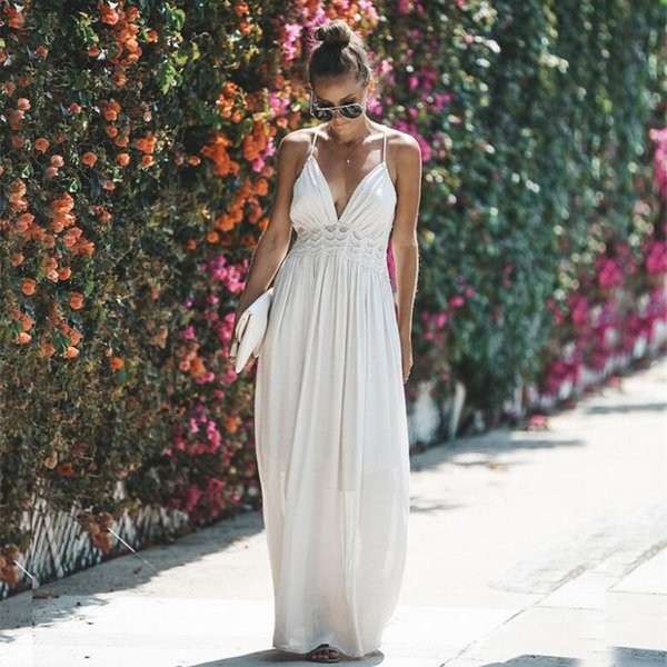 Sexy Hollow Out White Lace Dress Women High Waist Sleeveless Backless Dress Elegant Christmas Maxi Long