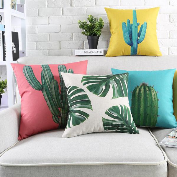 Acquista Cactus Ananas Foglia Cuscino 6 Stile Pianta Blu Giallo Colore  45X45cm Spessore Lino Cotone Federe Cuscini Camera Da Letto Divano  Decorazione ...