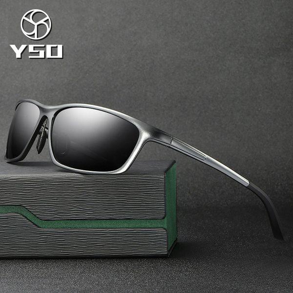YSO Sunglasses Men Polarized UV400 Aluminium Magnesium Frame HD Sun Glasses Driving Glasses Rectangle Accessories For Men 2179