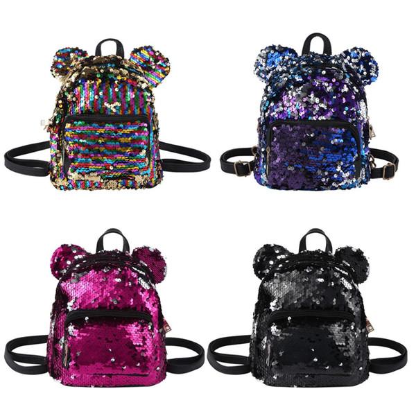 MSemis Kids Gilrs Backpacks Dazzling Glittery Sequins Bear Ears Mini Backpack Daypack Shoulder Bags Ballet Bag Schoolbag Satchel