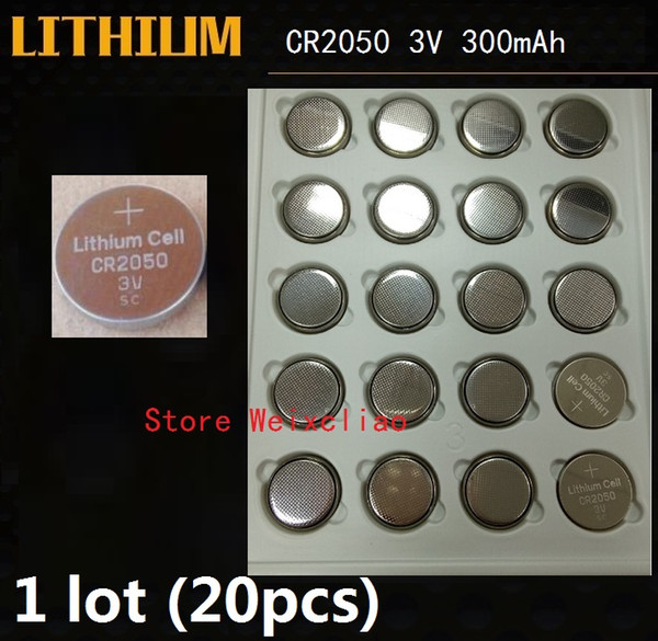 20pcs 1 lot CR2050 3V lithium li ion button cell battery CR 2050 3 Volt li-ion coin batteries tray package Free Shipping