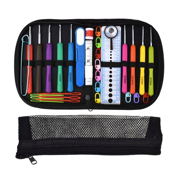 1 Set Crochet Hooks Needles Set Aluminum Knitting Needle Sewing Accessories With Case Crochet Weaving Sewing Tools Accessory