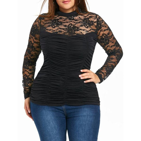f54f421c863 long sleeve tunic tee Promo Codes - Plus Size 4XL Womens Tops and Blouses  Tunic Lace